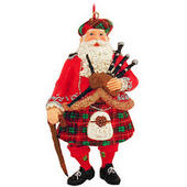Scottish Santa Bagpiper Resin Ornament