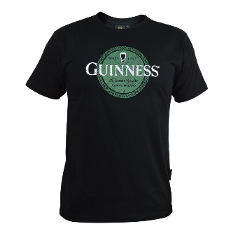 Guinness Black Tee with Green Celtic Label Print