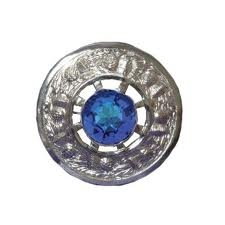 Plaid Brooch with Stone